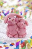 Marzipan pigs — Stock Photo