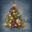Christmas tree with lights  — 图库照片