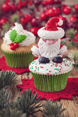 Christmas cup cakes — Stock Photo