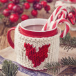 Hot chocolate with candy cane — Stock Photo #37011269