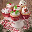 Stock Photo: Christmas cup cakes