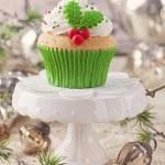 Christmas cup cake — Stock Photo