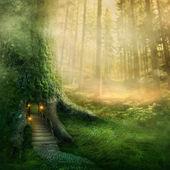 Dom drzewo fantazja — Zdjęcie stockowe