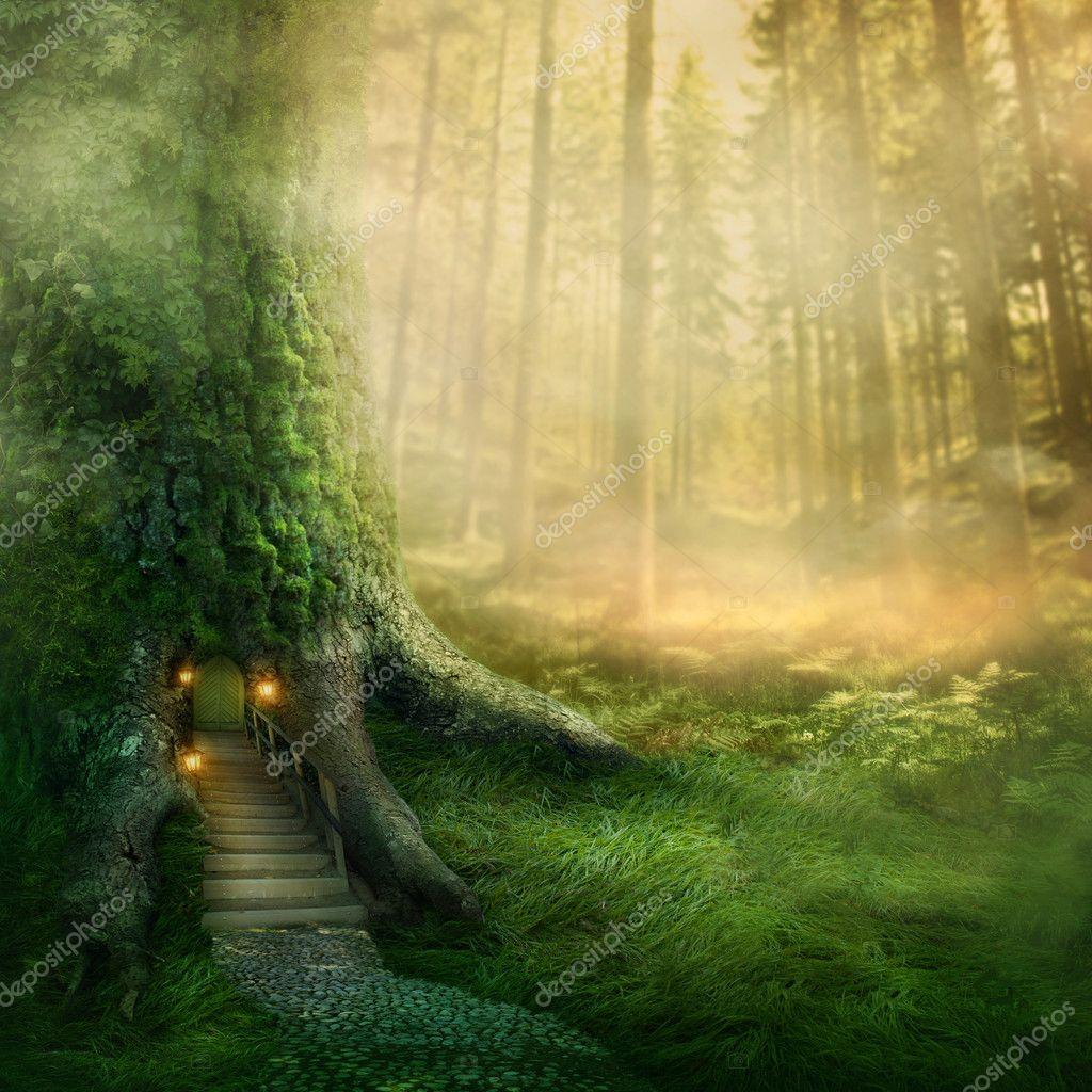 Фотообои Фэнтези дерево дом