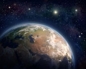 Planet Earth and stars — Stock Photo