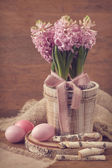 Pink hyacinths and easter eggs — Stock Photo
