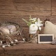 Easter eggs in nest and flowers — Stock Photo