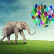 Elephant with balloons — Stock Photo