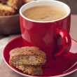 Cantuccini and a cup of coffee — Stock Photo