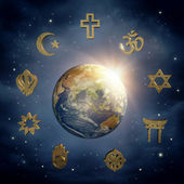 Earth and religious symbols — Stock Photo