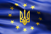 Flag of Europe with coat of arms of Ukraine — Stock Photo