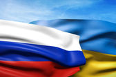 Flags of Ukraine and Russia — Stock Photo