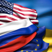 Flags of Ukraine,  European Union, Russia and Ukraine — Stock Photo