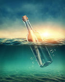 Bottle with a message — Stock Photo
