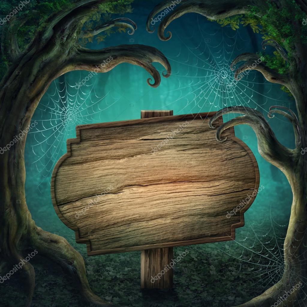 Фотообои Деревянный знак в темном лесу