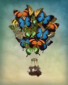 Butterfly hot air balloon — Stock Photo
