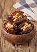 Dried dates with walnut — Stock Photo