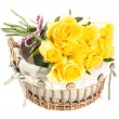 Yellow bouquet roses — Stock Photo