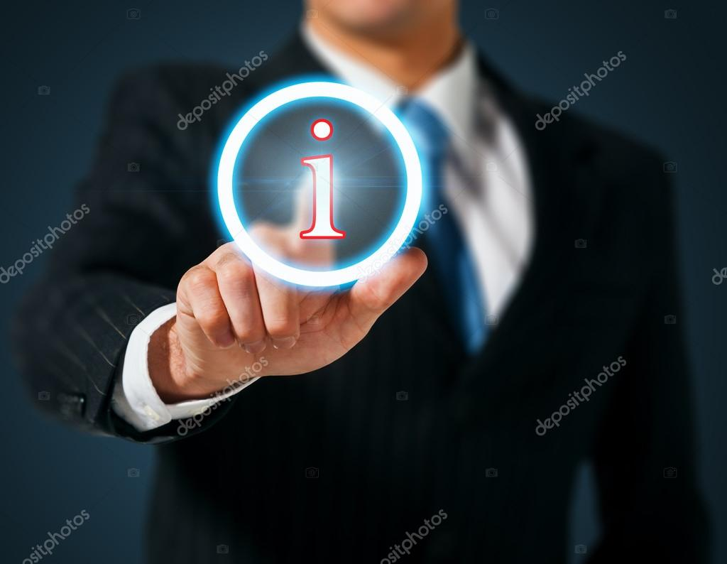 Man pushing on a touch screen interface. Information  Stock Photo #12716245