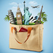 Illustration of a bag full of famous monument with passport — Stockfoto #21140919