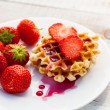 Strawberries and wafer — Stock Photo