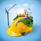 City on the construction helmet. — Stock Photo