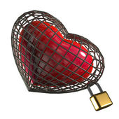 Heart in a cage with a padlock. on a white background — Stock Photo