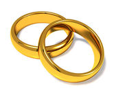 Wedding rings on a white background — Stock Photo