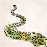 Decorative floral green snake — Stock Vector