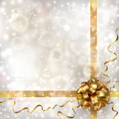 Abstract Christmas background with golden bow — Vettoriale Stock