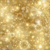 与明星和彩灯金黄背景 — 图库矢量图片