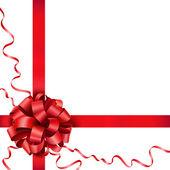 Geschenk rode boog met een lint — Stockvector