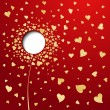 Royalty-Free Stock Vector Image: Golden hearts on red background. Abstract flower