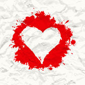 Red painted heart. Crumpled paper — Stock vektor