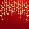 Valentines day card with hanging golden hearts — Stock Vector