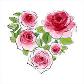 Heart of pink roses. Watercolor — 图库矢量图片