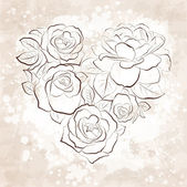 Roses in shape of a heart. Vintage style — Stock Vector
