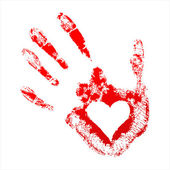 Red handprint with a heart inside — Stock Vector