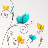 Fünf abstrakte papierblumen — Stockvektor