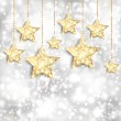 Silver background with gold stars and twinkly lights — Stock Vector #34378909