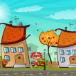 Stock Vector: Autumn town