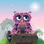 Cuty 鸟在木 — 图库矢量图片