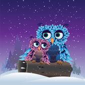 Birds in the winter — Stock Vector
