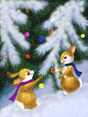 Christmas card with a squirrel — Stock Photo