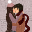 Love in the City in the winter — Stock Photo