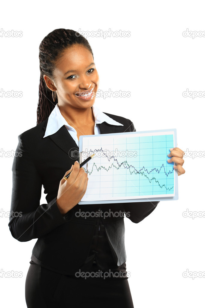 Young beautiful business woman showing the grouth and standing against white background  — Stock Photo #19894025