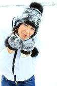 Jul girl.winter kvinna blåser snö — Stockfoto