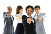 Happy business group poiting at the camera — Stock Photo