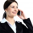 Portrait of happy smiling cheerful beautiful young businesswoman with phone — Stock Photo #22117261