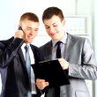 two businessmen discussing - isolated studio picture in high resolution. — Stock Photo